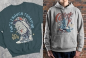 Colorful college mockups with vintage emblems of tired backpack and cute devil condom printing on hoodies