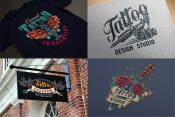 Retro tattoo designs mockups with vintage labels using for the creation of tattoo studio signboard and for printing on paper and t-shirt
