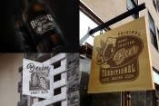 Beer mockups template with vintage beer emblems using for signboards and product packaging design
