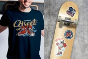 Colorful college mockups composition with vintage stickers of sneakers, skeleton in graduation cap and mantle, cheerleader brush character printing on t-shirt and skateboard