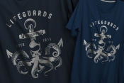 Vintage nautical mockups concept with monochrome style marine emblem printing on t-shirts