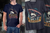 Colorful Day of the Dead mockups composition with vintage emblems of skulls in sombrero hat, trumpet and burning candle printing on t-shirts