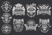 Firefighter vintage monochrome emblems. Vector art