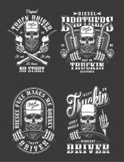 Set of Vector Vintage Monochrome Truck Driver Emblems and Designs on Black Background