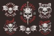 Set of Vector Vintage Demon Designs with Skull on Dark Background