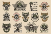 Set of Vector Vintage Military Emblems with Skull on Light Background