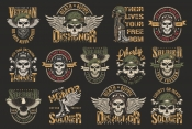 Set of Vector Vintage Military Emblems with Skull on Dark Background