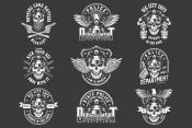 Set of vintage police monochrome designs on black background