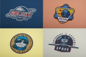 Set of space themes patches with shuttle and astronaut. Collection of vector art. Editable text, EPS, JPG, PDF, PSD, AI, PNG files.