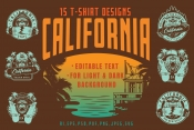 Vintage summer California State emblems cover with surfing house and skateboarding designs. Vector art