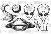 Aliens and ufo set of vector objects
