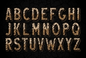 Desert rock display font family alphabet with damaged rock effect