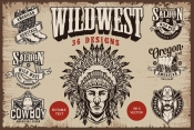 36 authentic Wild West designs cover with American Indian chief head in feathers headwear and monochrome style emblems, labels and badges