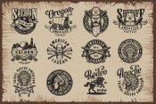 Wild West designs collection with different emblems, badges and prints in monochrome style