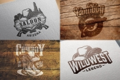 Examples of usage Wild West designs on various mockups