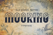 Mooring tattoo font cover with different nautical elements in old school style