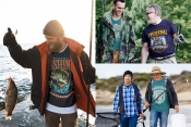 3 fishing t-shirt designs mockups with fishermen outdoor