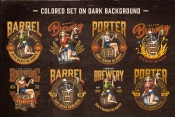 8 beer colored designs on dark background with different vector illustrations and text