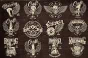 12 beer black and white designs on dark background with different vector illustrations and text