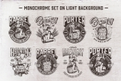8 beer black and white designs on light background with different vector illustrations and text
