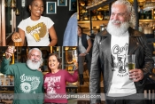 3 beer t-shirt designs mockups with people drinking beer