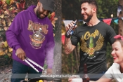 2 beer t-shirt designs mockups with people outdoor