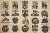 20 motorcycle black and white designs on light background with different vector illustrations and text
