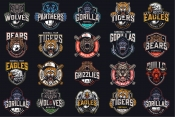 20 Sport colored logos on dark background with different vector illustrations and text