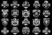 20 Sport black and white logos on dark background with different vector illustrations and text