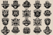 20 Sport black and white logos on light background with different vector illustrations and text
