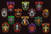 14 Halloween colored designs on dark background with different vector illustrations and text