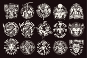 15 Halloween black and white designs on dark background with different vector illustrations and text