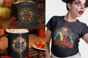 Different Halloween t-shirt designs on apparel mockups