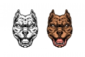 Color and monochrome versions of pitbull head design in vintage style on white background