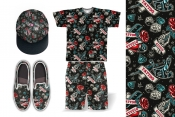 Colorful retro tattoo pattern printing on t-shirt, cap, shorts and espadrilles