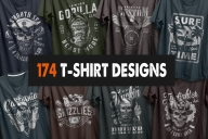 Old school style designs big collection with emblems and badges printing on t-shirts