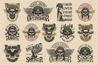 Vintage colorful military labels set with pilot, soldier, tankman, navy seal skulls on light background