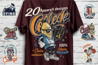 20 vintage apparel college designs cover with funny pencil character printing on t-shirt and colorful college emblems, labels, badges on light wall background