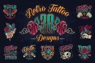 38 retro tattoo designs cover with butterfly, hand holding tattoo machine, crossed military knives, cat skull, diamond, crossed medieval elegant keys, moth and swallow with rose colorful emblems and labels