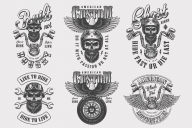 Vintage monochrome style motorcycle labels collection with bearded and mustached biker skull in helmet, steering wheel, tire and crossed wrenches