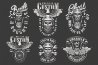 Vintage biker and motorcyclist emblems with motorcycle driver skulls in biker helmet, steering wheel, tire, crossed wrenches, eagle on dark background