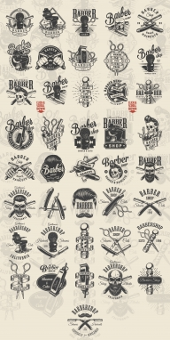Barbershop designs great collection with vintage labels, emblems, badges, prints in monochrome style on light background