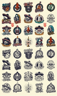 Vintage colorful and monochrome style Day of the Dead designs with Dia De Los Muertos badges, prints, labels, emblems on light background