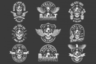 Old school style policeman badges collection with pistols, batons, eagle and skulls wearing police hat and sunglasses in monochrome style