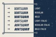 Cover of Boatswain font in light, regular, bold, light italic, regular italic, bold italic styles