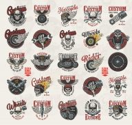 Vintage custom motorcycle colorful prints with motorcyclist and biker skulls in helmet and goggles, motorbike parts, fiery and winged elements, eagle, chopper