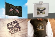 Colorful military mockups composition with vintage emblems printing on flag, hip flask, t-shirt and wooden surface