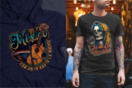 Colorful Day of the Dead mockups concept with vintage emblems printing on t-shirt and hoodie