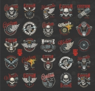 Old school style motorcycle emblems with colorful moto badges, prints and labels on dark background