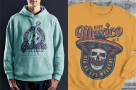 Monochrome style and colorful Dia De Los Muertos mockups with vintage labels of acoustic guitar and mustached skull in sombrero hat printing on t-shirt and hoodie